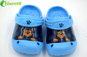 EVA Boys Blue Cartoon Big Patch Zuecos Sandalias
